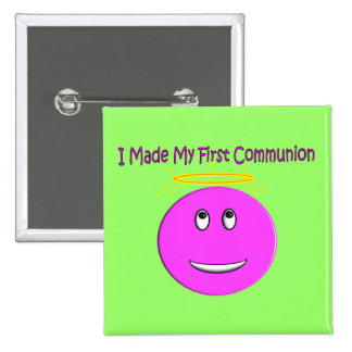 I Made My First Communion Big Pink Smiley 15 Cm Square Badge