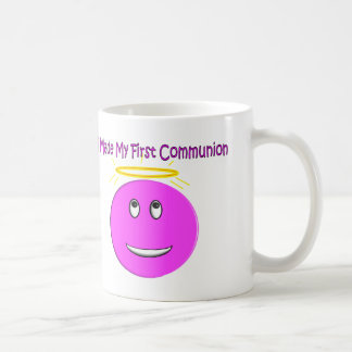I Made My First Communion Big Pink Smiley Basic White Mug