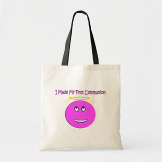 I Made My First Communion Big Pink Smiley Budget Tote Bag