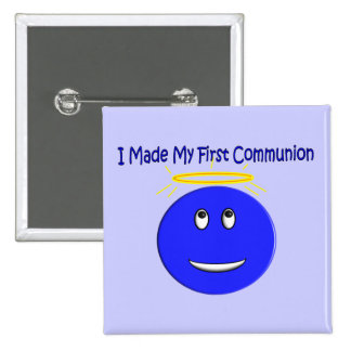 I Made My First Communion Blue Smiley 15 Cm Square Badge