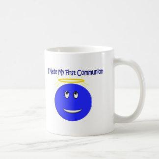 I Made My First Communion Blue Smiley Basic White Mug