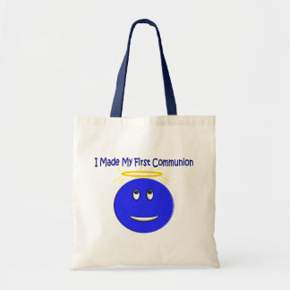 I Made My First Communion Blue Smiley Budget Tote Bag