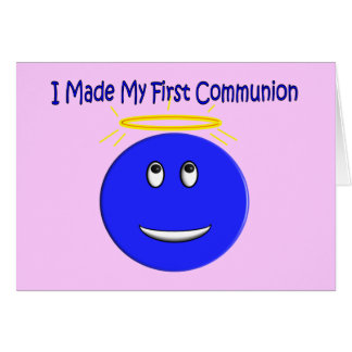 I Made My First Communion Blue Smiley Greeting Card