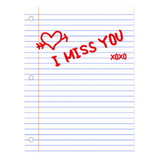 i miss you : notebook paper postcard