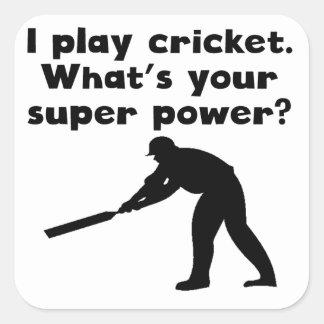 I Play Cricket Super Power Square Sticker