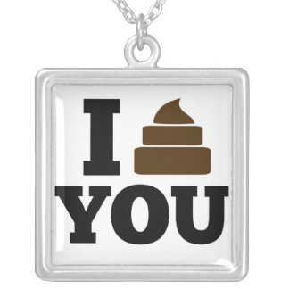 I Poop You Square Pendant Necklace