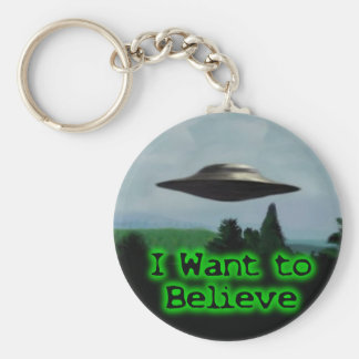 I want to believe basic round button key ring