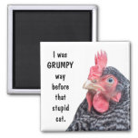 I was GRUMPY Way Before the Stupid Cat. Square Magnet