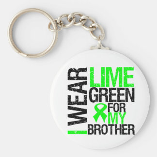 I Wear Lime Green For My Brother Lymphoma Basic Round Button Key Ring
