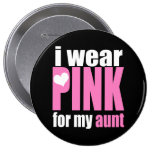 I Wear Pink For My Aunt 10 Cm Round Badge