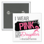 I Wear Pink Ribbon For My Daughter Breast Cancer 15 Cm Square Badge