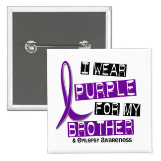 I Wear Purple For My Brother 37 Epilepsy 15 Cm Square Badge