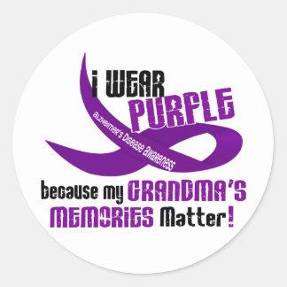 I Wear Purple For My Grandma's Memories 33 Round Sticker