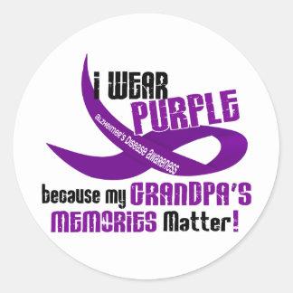 I Wear Purple For My Grandpa's Memories 33 Round Sticker