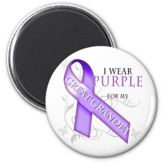 I Wear Purple for my Great Grandpa 6 Cm Round Magnet