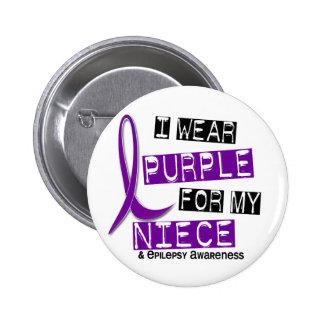 I Wear Purple For My Niece 37 Epilepsy 6 Cm Round Badge