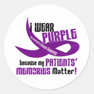 I Wear Purple For My Patients' Memories 33 Round Sticker