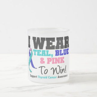 I Wear Thyroid Cancer Ribbon To Win Frosted Glass Mug