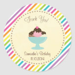 Ice Cream Birthday Thank You Sticker Colourful