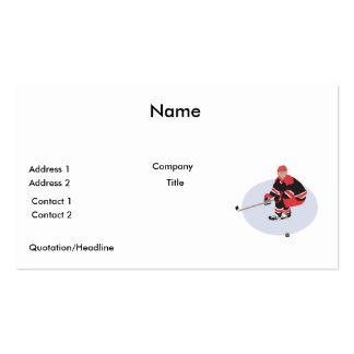 ice hockey player ready to strike pack of standard business cards
