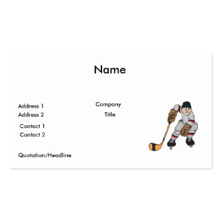 ice hockey player waiting pack of standard business cards
