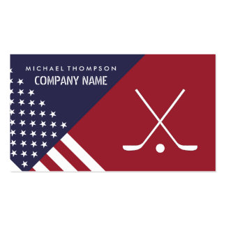 Ice Hockey Sticks On United States Flag Background Pack Of Standard Business Cards