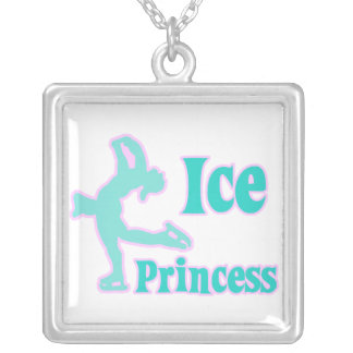 ice princess figure skating pastel design square pendant necklace
