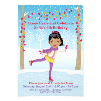 Ice Skating Birthday Party - African American Girl 13 Cm X 18 Cm Invitation Card