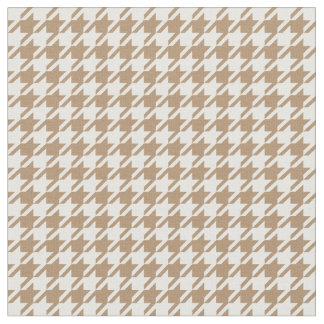 Iced Coffee & White Houndstooth Fabric