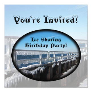 Icicles, Ice Skating Birthday Party 13 Cm X 13 Cm Square Invitation Card
