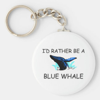 I'd Rather Be A Blue Whale Basic Round Button Key Ring