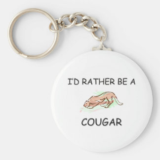 I'd Rather Be A Cougar Basic Round Button Key Ring