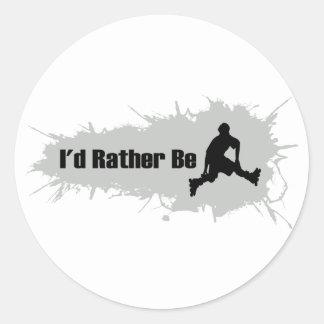 I'd Rather Be Rollerblading Round Sticker