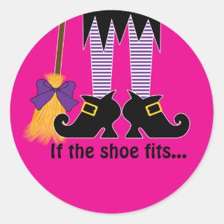 If The Shoe Fits Purple Round Sticker