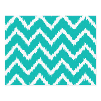 Ikat Chevrons - Turquoise and white Postcard