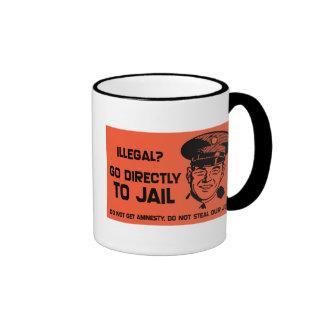 Illegal? Go To Jail Card. Ringer Mug