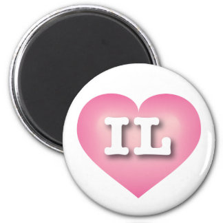 Illinois Pink Fade Heart - Big Love 6 Cm Round Magnet