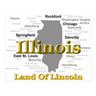 Illinois State Pride Map Silhouette Postcard