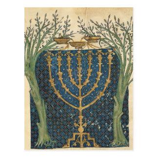 Illumination of a menorah, from postcard