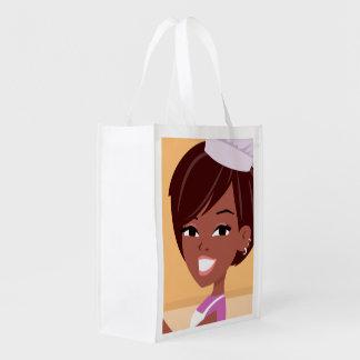 Illustrated Black Girl Grocery Bag