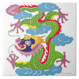 Illustration of Chinese dragon flying Large Square Tile