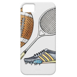 Illustration of rugby ball, tennis racquet, barely there iPhone 5 case
