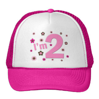 """I'm 2"" Pink & Brown Flowers Cap"