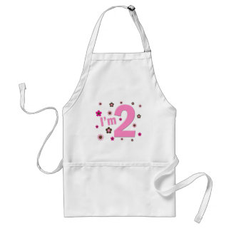 """I'm 2"" Pink & Brown Flowers Standard Apron"