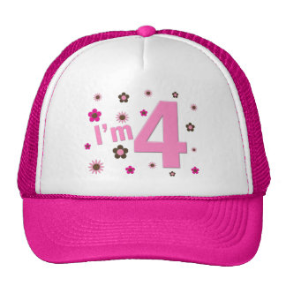 I'm 4 Pink & Brown Flowers Cap