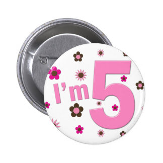 I'm 5 Pink And Brown Flowers 6 Cm Round Badge