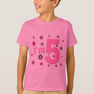I'm 5 Pink And Brown Flowers T Shirt