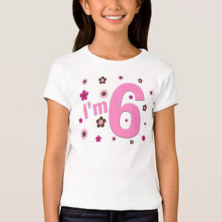 I'm 6 Pink And Brown Flowers T Shirts