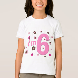 I'm 6 Pink And Brown Flowers Tshirt