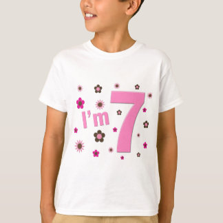 I'm 7 Pink And Brown Flowers Tshirts